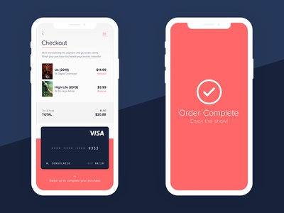 Movie Rental // Checkout Page credit card jordan peele us high life digital app web streaming ux uiux mobile rental download movies check out checkout checkout page daily ui 002 ui daily ui