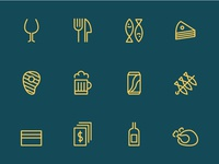 Chiringuito Los Leones Icons set drinks restaurant food icons