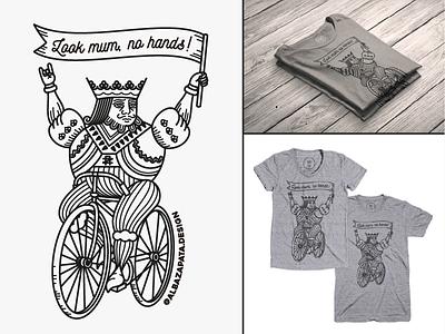 Look mum, no hands playing cads bicycle joker poker illustration t-shirt