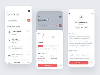 Job Portal - App Concept job board ios ux ui job application filter search job portal job