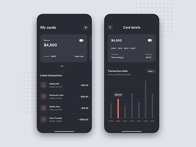 Personal Finance - App Concept ux ui money transfer mobile banking banking app credit card fintech app finance app finance dark mode