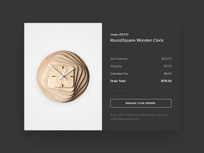 Email Receipt - Daily UI challenge #017 simple receipt clock wooden email email receipt psdehat dailyuichallenge dailyui017 dailyui ux ui