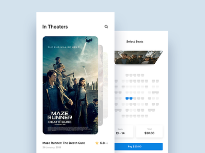 Cinema App Concept rating checkout pay theaters ux ui seats app cinema app movies inspiration