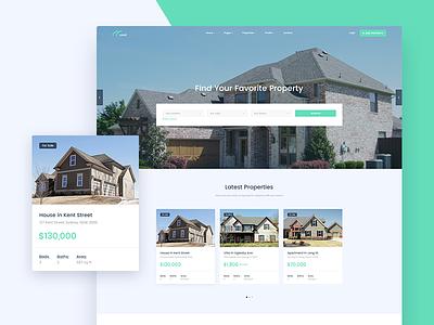 Land - Real Estate Website listing property real estate architect architecture website concept clean home land