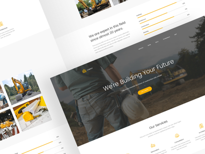 Building & Constructing Landing Page modern clean marketing landing page constructor company building helmet yellow build constructing
