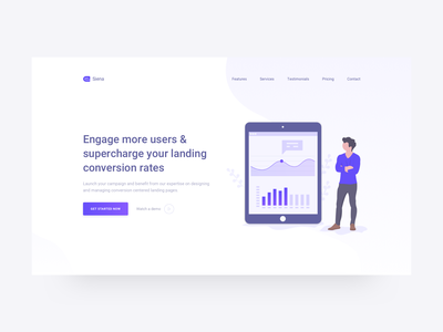 Marketing Landing Page service corporate dailyui ui creative startup clean modern illustration isometric marketing landing page