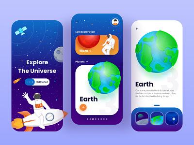 Universe Exploration App earth star modern rocket universe space vector branding ui ux illustration figma app design