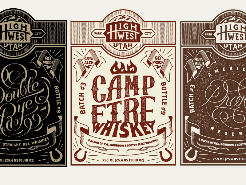 High West Whiskey Labels whiskey handlettering type typography vintage western alcohol bottle label design branding