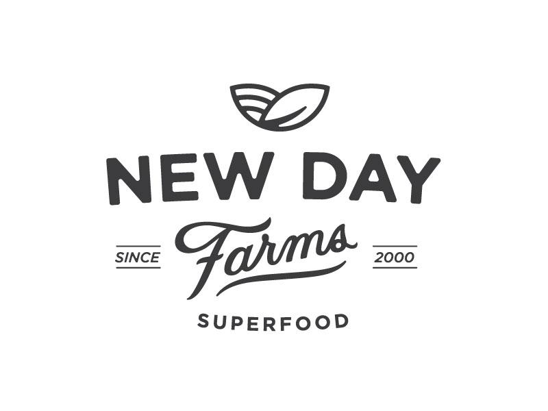 NDF Branding farms organic logo branding lettering handlettering new day food microgreens superfood
