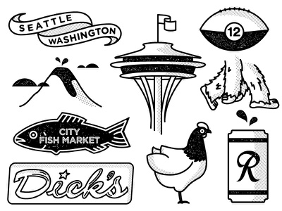 Seattle Icons 1 seahawks fish space needle bigfoot ranier chicken dicks halftone icon seattle