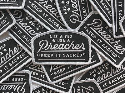 Preacher Hat I texas austin handletter preacher stitch script patch hat