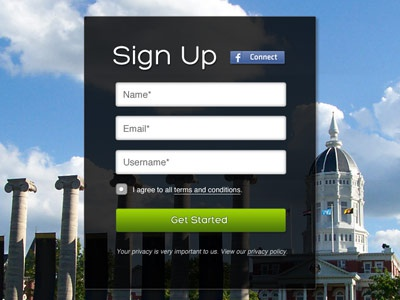 College Sign Up Box sign up get started form college large image transparency ux facebook connect
