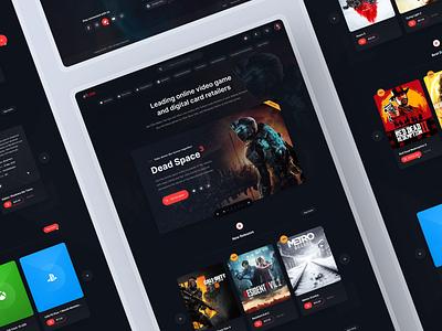 Landing Page: Gaming figma games shop online store ps4 xbox retail game gaming redesign website dark page landing ui