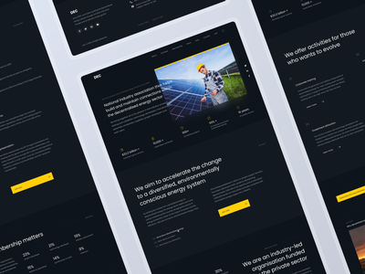 Landing Page: Decentralised Energy green desktop panels battery solar yellow dark energy website landing page web design