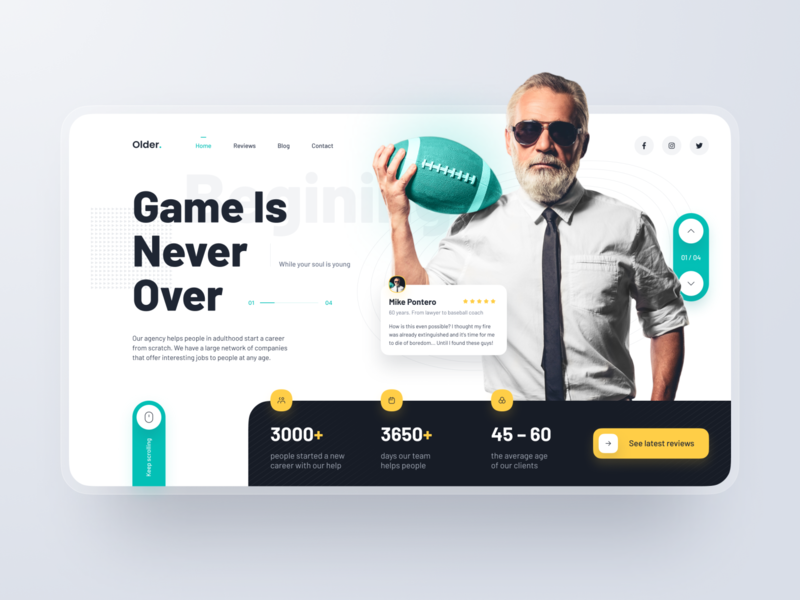 Landing Page: Game Is Never Over network social consulting board concept offer career company exchange agency job work hero header page landing ux design ui