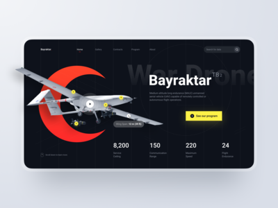 Landing Page: War Drone drone weapon battle war military section hero header website web ux design page landing ui