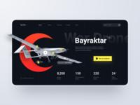 Landing Page: War Drone drone weapon battle war military section hero header website web ux design page landing ui