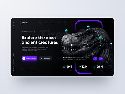 Landing Page: Virtual Museum dark history ancient tirex dinosaur museum header website web page landing design ux ui