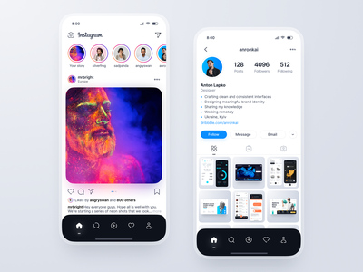 Instagram Redesign Concept redesign app instagram concept network light social mobile ux ui