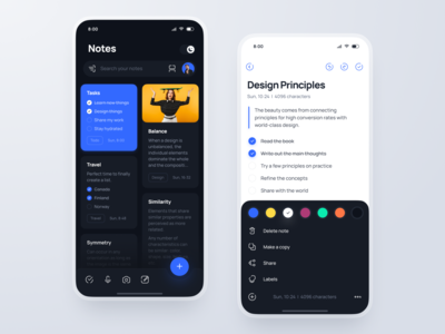 Mobile Notes App figma text editing note writing google light dark ux ui app docs diary notes mobile