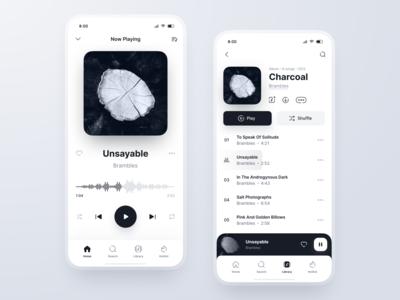 Music Player Concept: Light Theme app ux ui bottom navigation line icons theme dark light blackandwhite player music mobile figma
