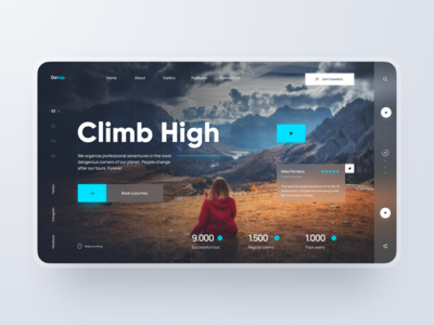 Landing Page: Travel Agency figma desktop blue tour tours design web website climbing mountains futuristic dark agency tourism travel page landing ux ui