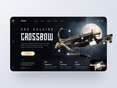 Landing Page: Crossbow Store ux ui theme dark film cinema vampire bow crossbow sport market store ecommerce marketplace desktop landingpage page landing web design
