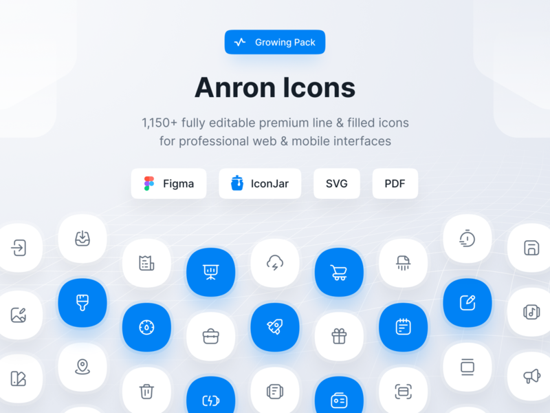 Anron Icons: 1150+ Editable Icons for Figma & IconJar app web mobile ux design ui iconjar filled line iconography iconset pack icon icons figma