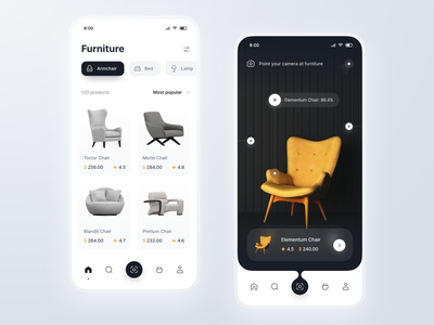 Furniture Store Concept black and white figma vr ar ux android ios lamp bed armchair light dark ui design online store shop ecommerce app mobile ui