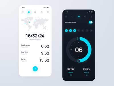 Mobile Clock App watch android ios icons bedtime ui design light dark figma mobile app time schedule timer clock alarm design ux ui