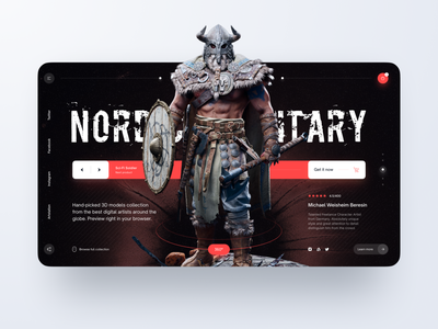Landing Page: Nordic Military figma model 3d above the fold military nordic viking slider dark ui concept landing page hero page landing
