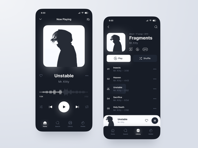 Mobile Music Player: Dark Theme mobile ui ui design icons wave audio streaming playlist tracks theme player music dark app mobile ui figma