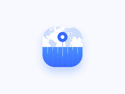 Time Zone App Icon Animation locations location timeline clean light minimalist zone converter clock time icon app app-icon