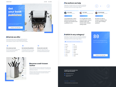 Publisher Match — Landing Page figma agency minimalist light clean authors author writer publishers publisher writers website desktop landing page web