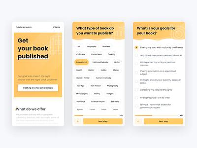 Publisher Match — Survey Form principle figma ui design page landing publishers agency authors writers progress steps inputs form survey minimalist light clean mobile ui