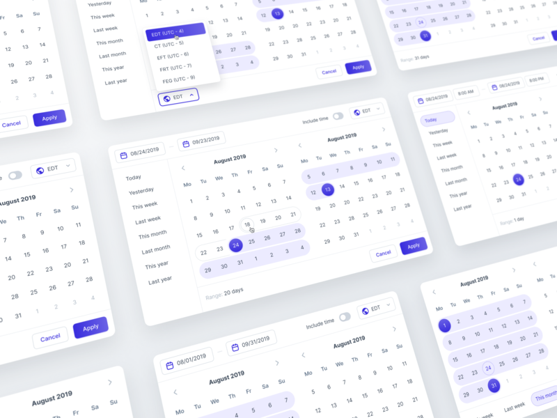 Leverege Design System: Date Range Pickers ux system time picker range date components library figma design ui