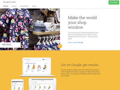 Google for Retail product component ux ui shopper website retail materialdesign cards google