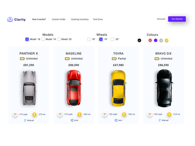 Clairty - Electric cars shop - white version drive automobile automotive cars energy electric cars cms product ecommerce product design ux ui