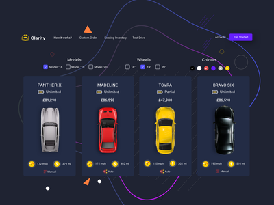 Clarity - Electric cars shop - dark version top nav menu filter product display card design uxui ui ux ecommerce product listing plp pdp product cars