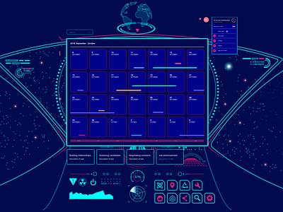 SPACE Calendar - Gaming UI visual uidesign ux design gaming concept ui futuristic space