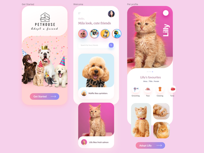 Pethouse app social app adopt search product petcare profile cart appdesign clean petshop dog cats pets