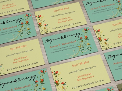 Thyme & Energy print collateral identity logo illustration design busines card brand