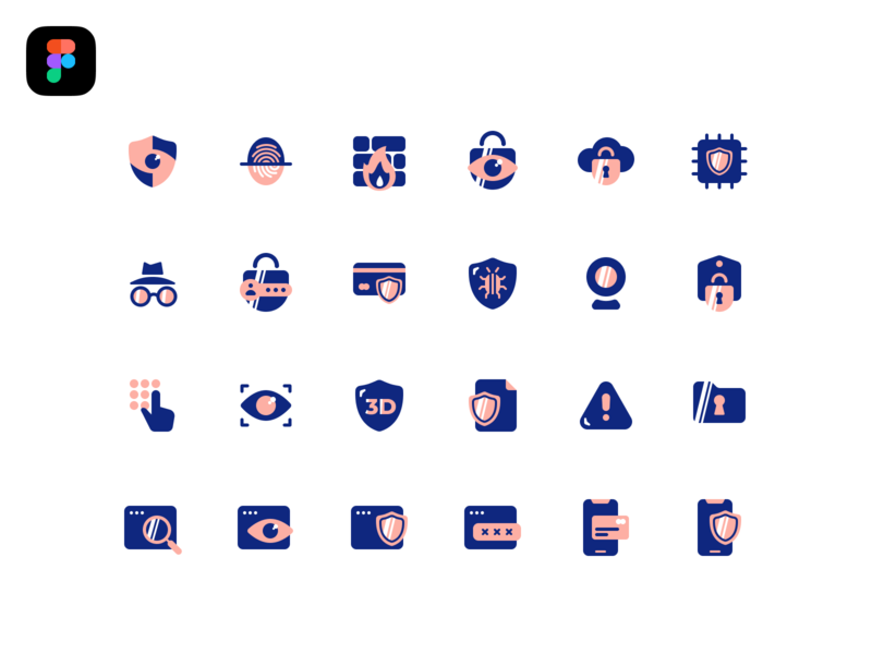 Freebie Security Icons fix bug hidden mode icon pack chip cloud firewall fingerprint protection password shield mobile security camera browser magnify eye security icons freebie free