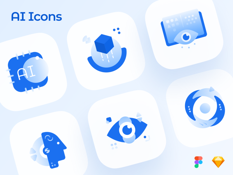Freebie AI Icons 🤖 freebies free vector icons pack icon set technology abstract futuristic illustrations icons brain upgrade computer science science deep learning eye robot machine learning artificial intelligence ai