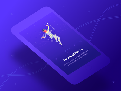 Onboarding movie ios app mobile dark vr welcome onboarding illustration character