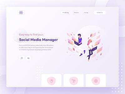 Social Media Manager media manager social ui illustration landing