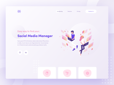 Social Media Manager media manager social ui illustration landing