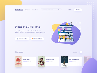 Whattpad Redesign gradient abstract ui landing illustration book story whattpad