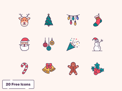 Free 20 Christmas Icons lights gingerbread ornaments christmas tree socks illustration santaclaus deer icons christmas freebie free