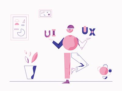 UI UX Designer Illustration vector uiux geometric illustration flat illustration abstract shapes geometric illustraion